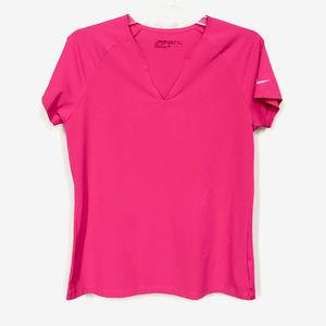 Nike Golf Pink Dri-Fit Short Sleeve V-Neck - M